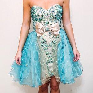 Rachel Allan Beaded Dress W/ Custom Skirt